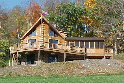 All american log home crockett log homes plans kits for Prow front home plans