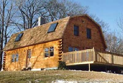Gambrel log home log home kits plans for Log barn homes